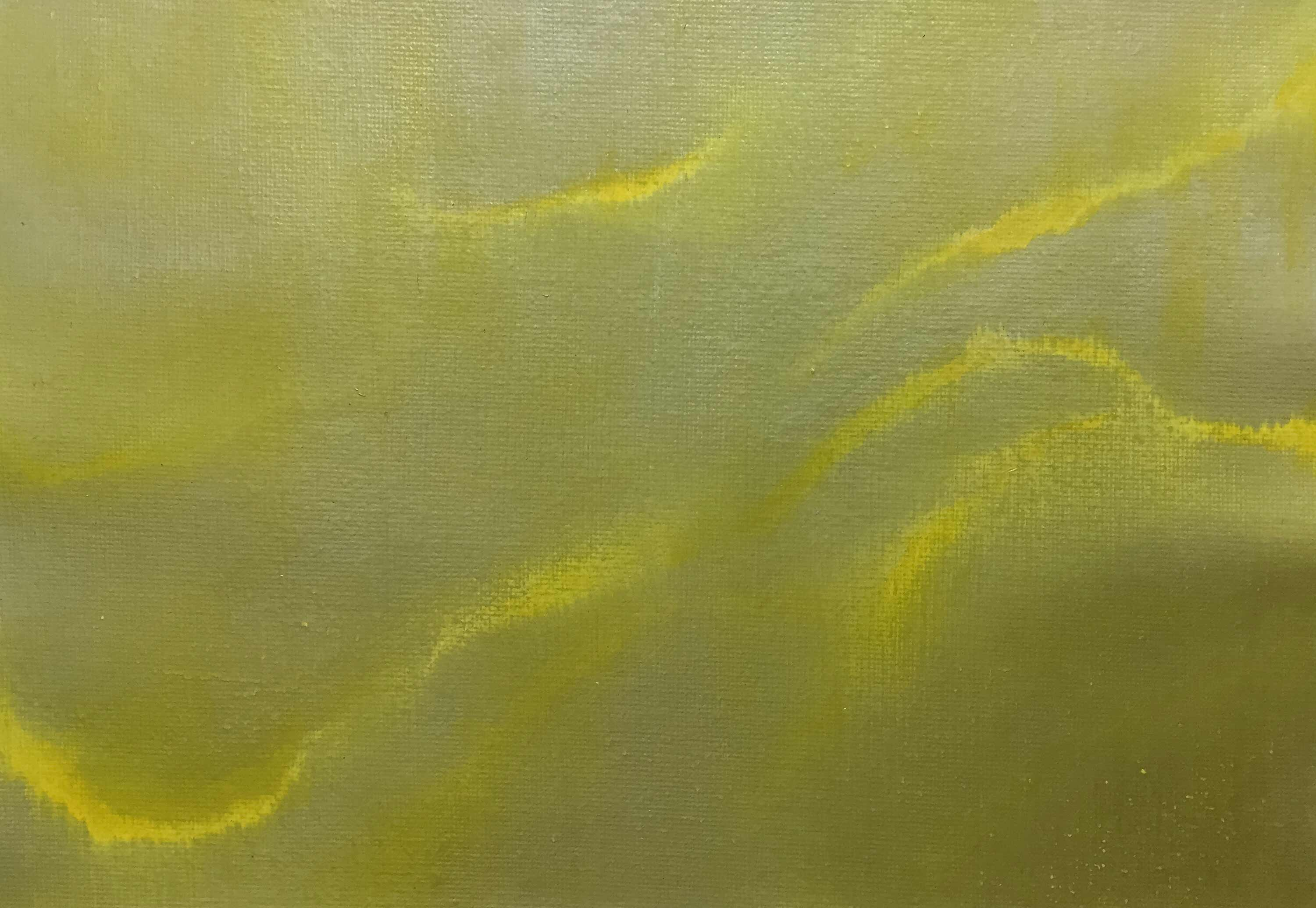 "Pedro A. Figueredo. ""Unfettered No. 4: Yellow"" (2016). Acrylic on canvas sheet: approximately 7 x 10 in. on canvas sheet 9 x 12 in."
