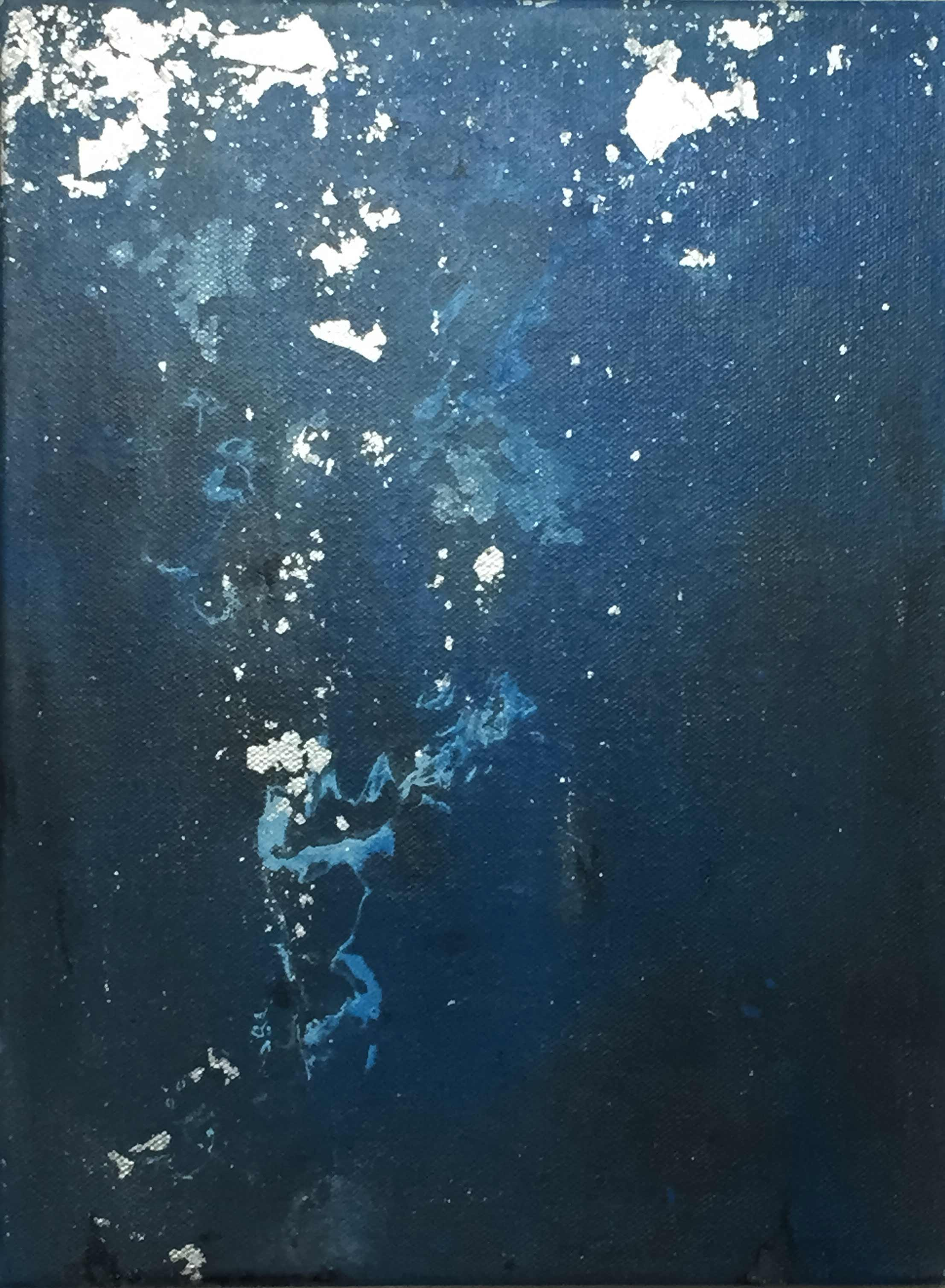 "Pedro A, Figueredo. ""Nocturne I"" (2015). Acrylic and metal foil on canvas; 12 x 9 in."